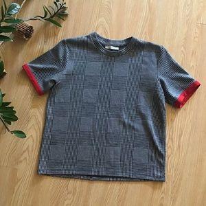 Zara houndstooth plaid tee shirt